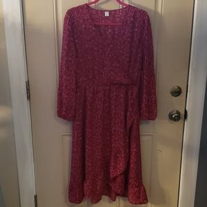 Floral print burgundy old navy ruffled dress
